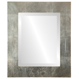 Ashland Beveled Rectangle Mirror Frame in Silver Leaf with Brown Antique