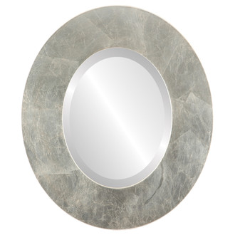 Tribeca Beveled Oval Mirror Frame in Silver Leaf with Brown Antique