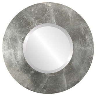 Tribeca Beveled Round Mirror Frame in Silver Leaf with Brown Antique