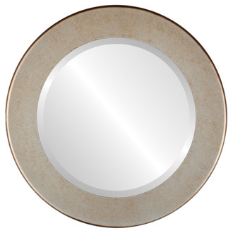 Avenue Beveled Round Mirror Frame in Burnished Silver