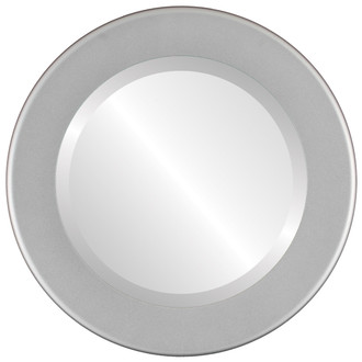 Avenue Beveled Round Mirror Frame in Bright Silver