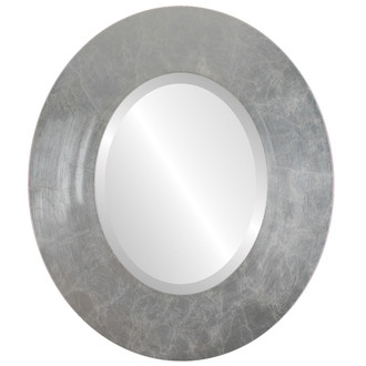 Boulevard Beveled Oval Mirror Frame in Silver Leaf with Brown Antique