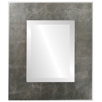 Boulevard Beveled Rectangle Mirror Frame in Silver Leaf with Brown Antique