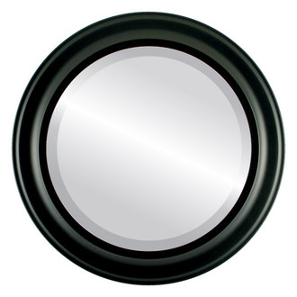 Messina Beveled Round Mirror Frame in Matte Black