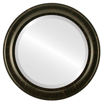 Messina Beveled Round Mirror Frame in Veined Onyx