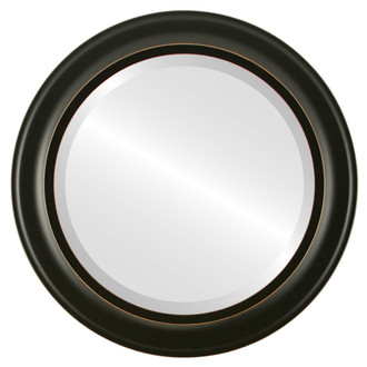 Messina Beveled Round Mirror Frame in Rubbed Black