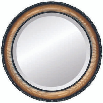 Brookline Beveled Round Mirror Frame in Toasted Oak