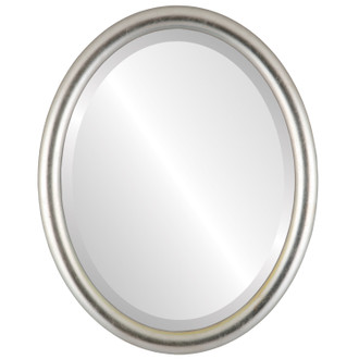 Pasadena Beveled Oval Mirror Frame in Silver Leaf with Brown Antique