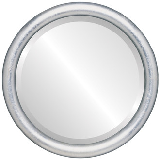 Pasadena Beveled Round Mirror Frame in Silver Leaf with Brown Antique