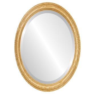 Melbourne Beveled Oval Mirror Frame in Honey Oak