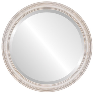 Melbourne Beveled Round Mirror Frame in Country White