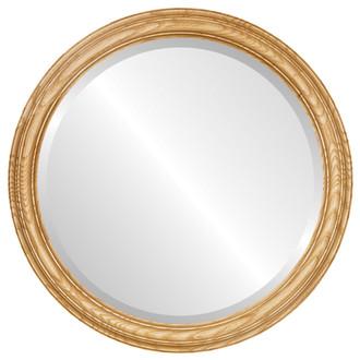 Melbourne Beveled Round Mirror Frame in Honey Oak