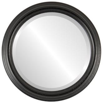 Melbourne Beveled Round Mirror Frame in Matte Black