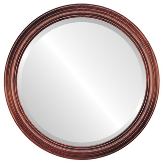 Melbourne Beveled Round Mirror Frame in Rosewood