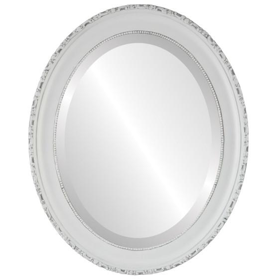 Kensington Beveled Oval Mirror Frame in Linen White