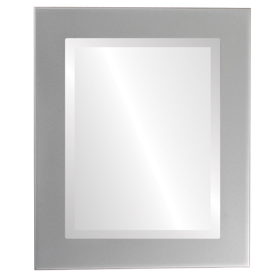 Cafe Beveled Rectangle Mirror Frame in Bright Silver