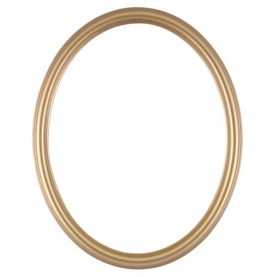 Oval Frame In Desert Gold Finish Simple Dark Gold Wooden