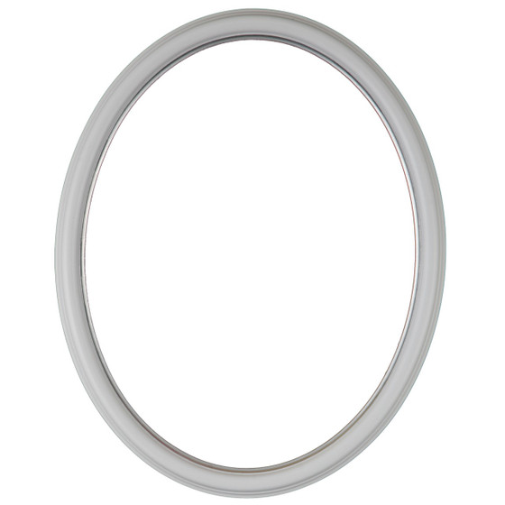 Oval Frame In Linen White Finish With Silver Lip Simple Antique