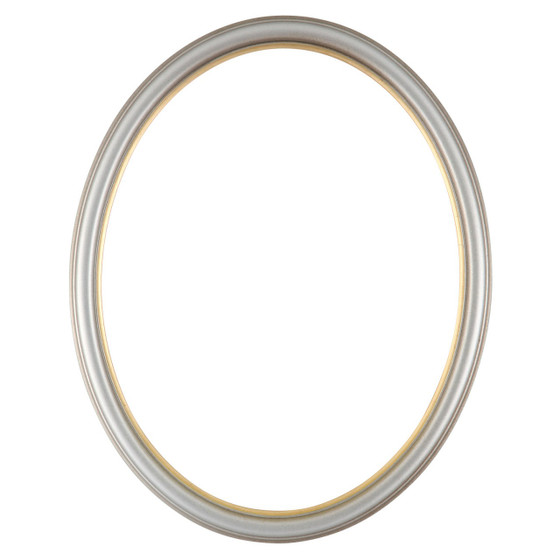 Oval Frame In Silver Shade Finish With Gold Lip Simple