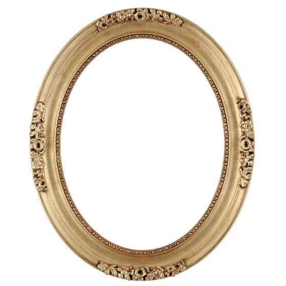 Oval Frame In Gold Leaf Finish Antiqe Stripping And Decorations On