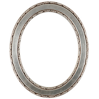 Monticello Oval Frame # 822 - Silver Leaf with Brown Antique