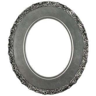 Williamsburg Oval Frame # 844 - Silver Leaf with Black Antique
