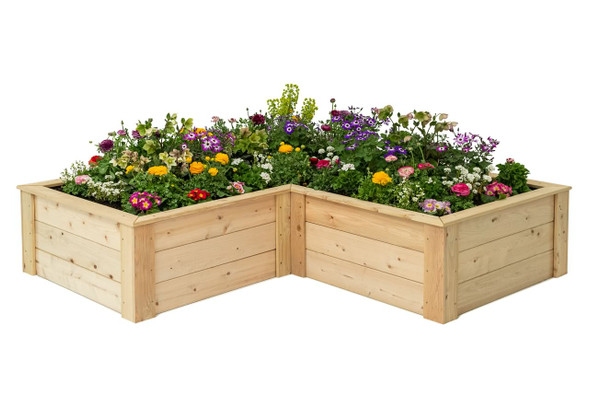 L-Shaped Raised Bed with Trim Pack 3'x6'x6'x16.5""