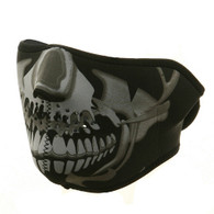 Chrome Skull Ski Half Face Mask Front View