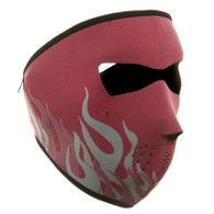 Pink & White Flame Neoprene Ski Mask