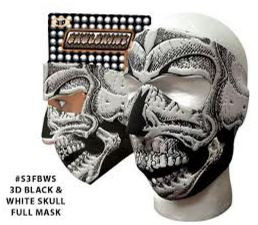3D Black & White Skull Full Neoprene Face Mask