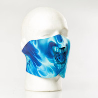 Blue Skull Flame Half Ski Mask