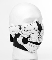 3D Black & White Skull Half Ski Mask