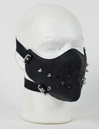 Punk Rivet Black Leather Half Face Mask