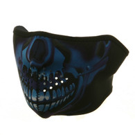 Ski Half Face Mask - Blue Skull - Front View