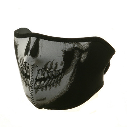 Ski Half Face Mask - Skull - Front View