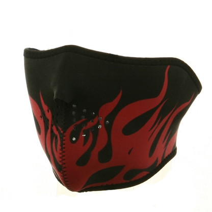 Ski Half Face Mask - Red Flame - Front View