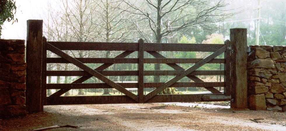 Timber gates wooden farm field authentic