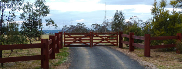 4.8m 5-rail Double Farm gates after staining