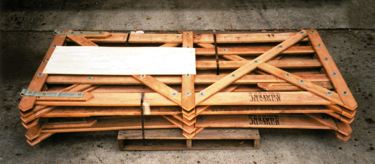 Example of assembled timber gates ready for despatch