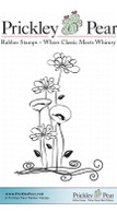 Wildflower Garden, Small - Red Rubber Stamp