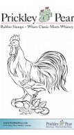 Rooster - Red Rubber Stamp