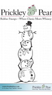 Stacked Snowman, Small - Red Rubber Stamp
