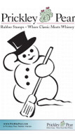 Snowman with Broom, Sm - Red Rubber Stamp