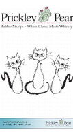 3 Fraidy Cats, Sm - Red Rubber Stamp