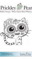 Day of the Dead Cat, Small - Red Rubber Stamp