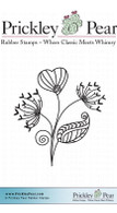 Striped Flower - Red Rubber Stamp