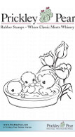 Pond of Ducklings - Red Rubber Stamp