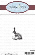 Left Bunny - Red Rubber Stamp