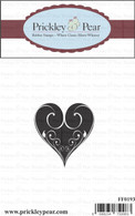 Medium Swirl Heart - Red Rubber Stamp