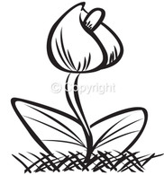 Tiny Tulip - Red Rubber Stamp